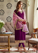 Load image into Gallery viewer, Purple and Gold Embroidered Straight Pant Style Suit 5