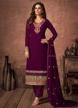 Load image into Gallery viewer, Purple and Gold Embroidered Straight Pant Style Suit