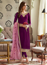 Load image into Gallery viewer, Purple and Gold Embroidered Straight Pant Style Suit 3