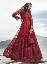 Load image into Gallery viewer, Red Heavy Embroidered Kalidar Lehenga/ Pant Style Anarkali