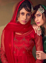 Load image into Gallery viewer, Red Heavy Embroidered Net Sharara Style Suit