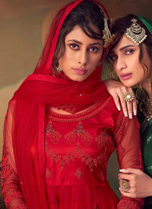 Red Heavy Embroidered Net Sharara Style Suit
