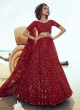 Load image into Gallery viewer, Red Sequins Embroidered Stylish Lehenga Choli