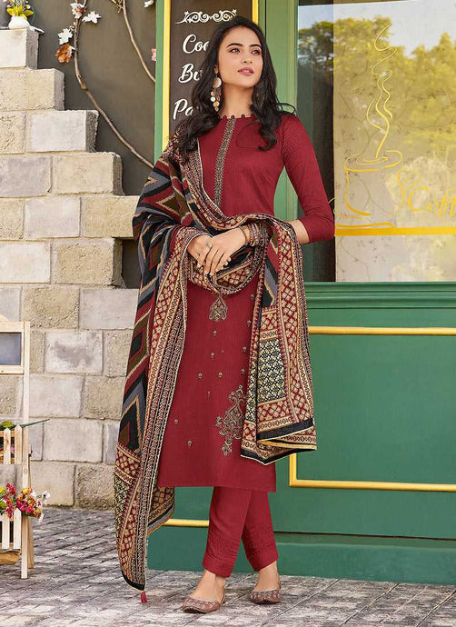 Red Violet Embroidered Straight Pant Style Suit