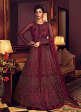 Load image into Gallery viewer, Red Wine Heavy Embroidered Lehenga/ Pant Style Anarkali