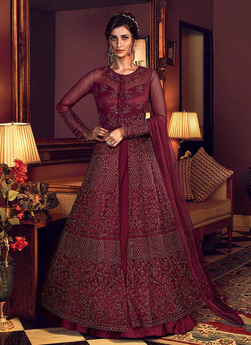 Red Wine Heavy Embroidered Lehenga/ Pant Style Anarkali