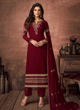 Load image into Gallery viewer, Red and Gold Embroidered Straight Pant Style Suit