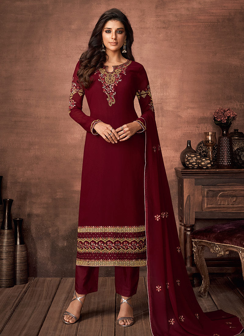 Red and Gold Embroidered Straight Pant Style Suit