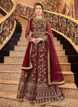 Load image into Gallery viewer, Red and Gold Heavy Embroidered Anarkali