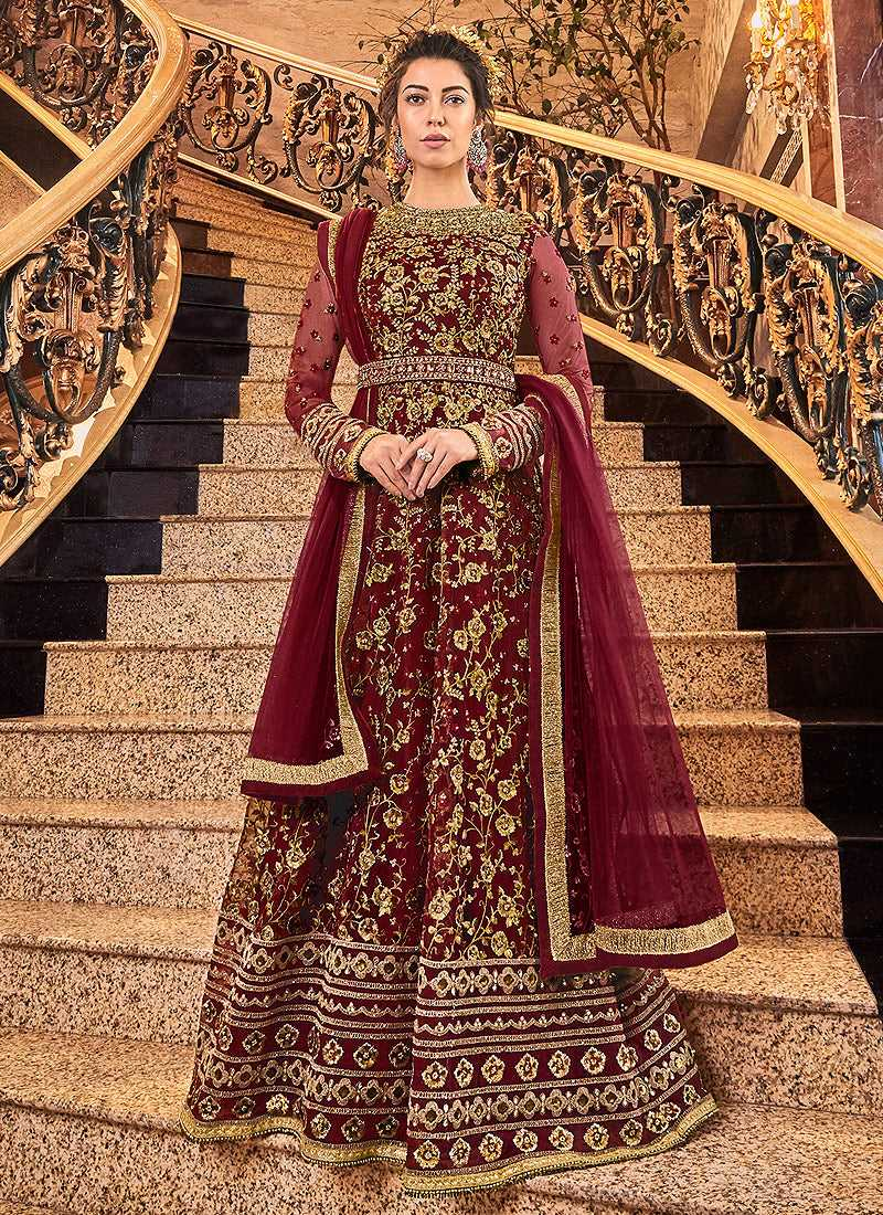 Red and Gold Heavy Embroidered Anarkali
