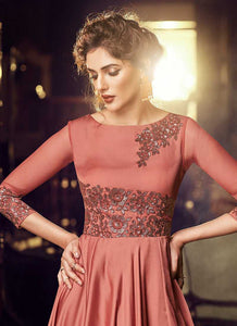 Rose Gold Embroidered Anarkali Style Gown
