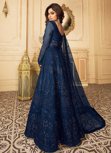 Royal Blue Heavy Embroidered Kalidar Gown Style Anarkali