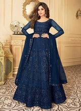 Load image into Gallery viewer, Royal Blue Heavy Embroidered Kalidar Gown Style Anarkali