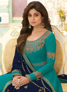 Sea Green Heavy Embroidered Floor touch Anarkali 2