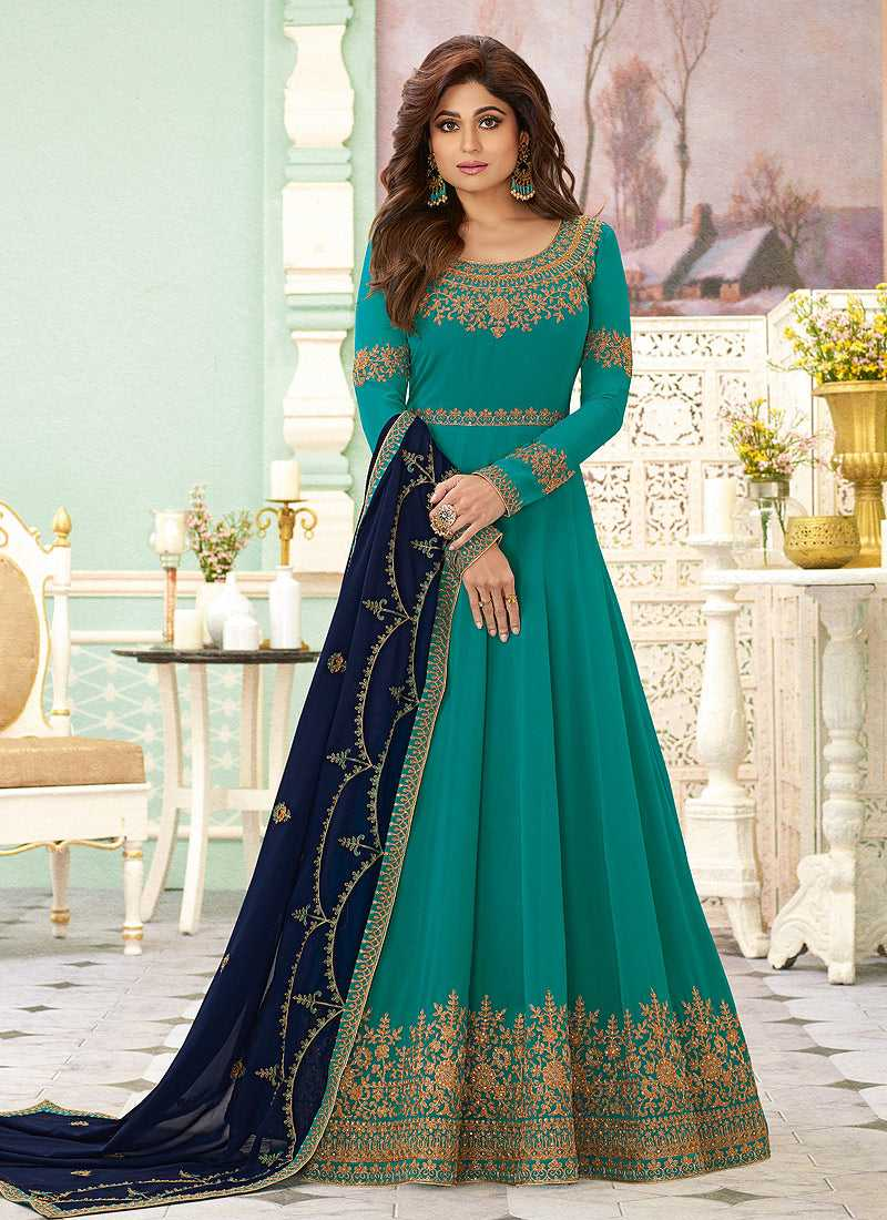 Sea Green Heavy Embroidered Floor touch Anarkali