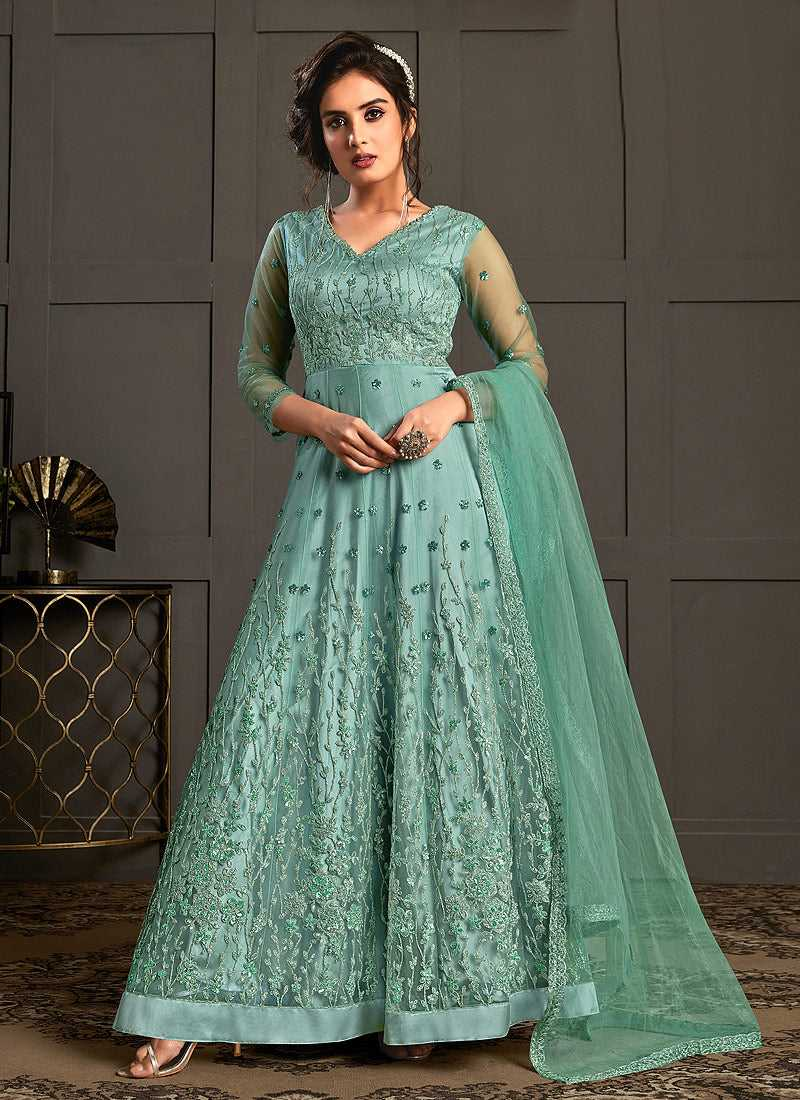 Sea Green Heavy Embroidered Gown Style Anarkali Suit