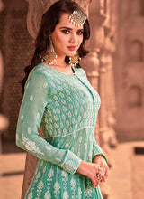 Load image into Gallery viewer, Sea Green Heavy Embroidered Lehenga Style Anarkali 2