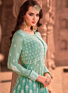 Sea Green Heavy Embroidered Lehenga Style Anarkali 2