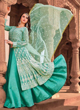 Load image into Gallery viewer, Sea Green Heavy Embroidered Lehenga Style Anarkali 3