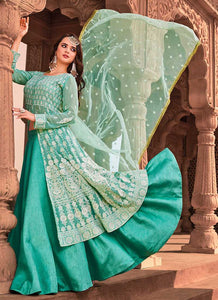 Sea Green Heavy Embroidered Lehenga Style Anarkali 3