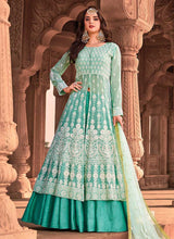 Load image into Gallery viewer, Sea Green Heavy Embroidered Lehenga Style Anarkali