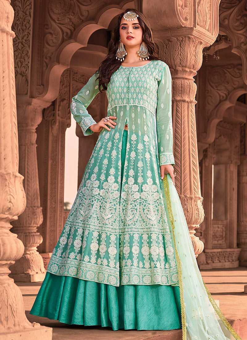 Sea Green Heavy Embroidered Lehenga Style Anarkali