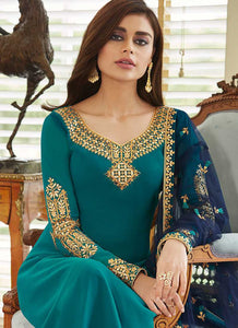 Sea Green and Gold Embroidered Straight Pant Style Suit 2