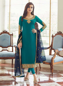 Sea Green and Gold Embroidered Straight Pant Style Suit