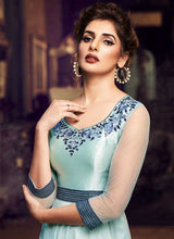 Load image into Gallery viewer, Sky Blue Floral Embroidered Anarkali Style Gown 2