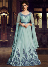 Load image into Gallery viewer, Sky Blue Floral Embroidered Anarkali Style Gown