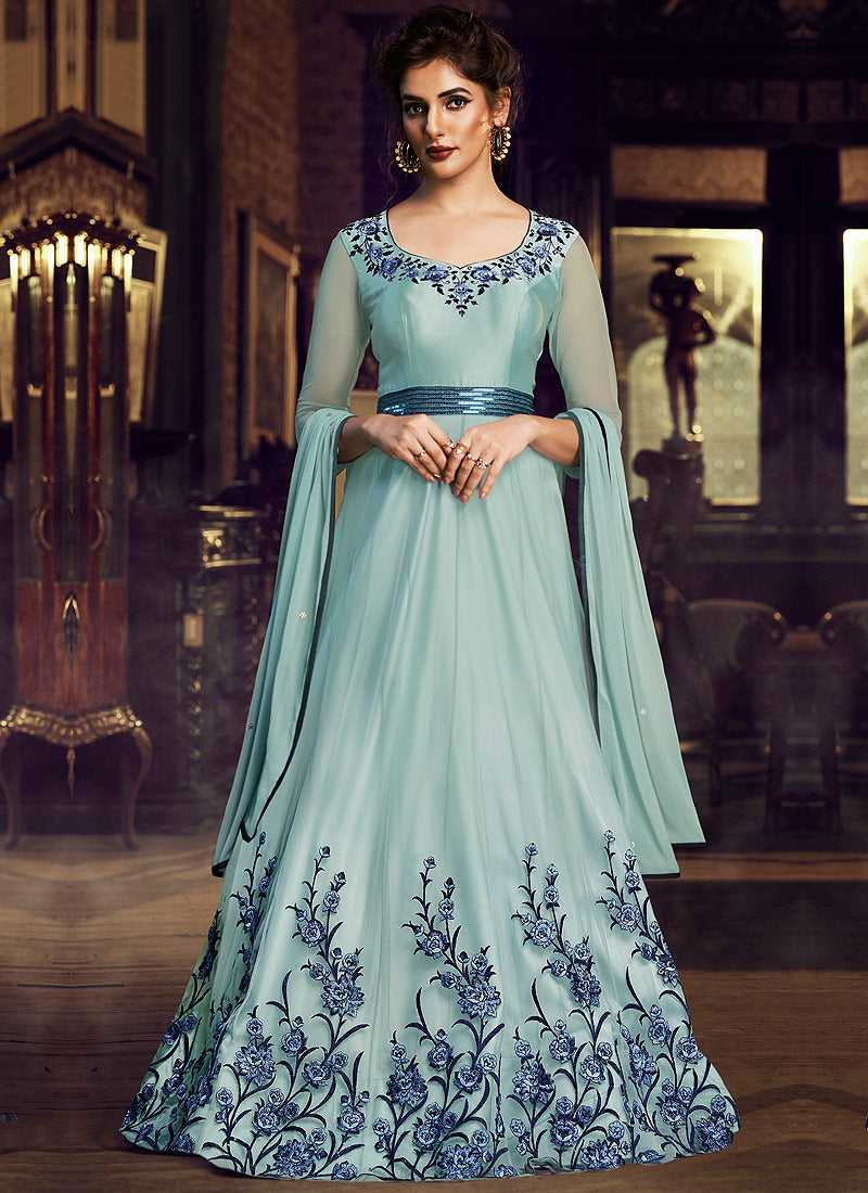 Sky Blue Floral Embroidered Anarkali Style Gown