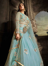 Load image into Gallery viewer, Sky Blue Floral Embroidered Heavy Anarkali Suit