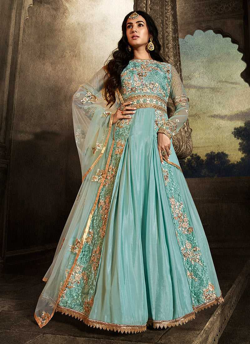 Sky Blue Floral Embroidered Heavy Anarkali Suit
