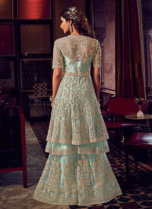 Sky Blue Heavy Embroidered Sharara Style Suit