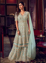 Load image into Gallery viewer, Sky Blue Heavy Embroidered Sharara Style Suit