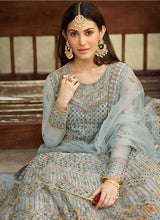 Load image into Gallery viewer, Teal Blue Heavy Embroidered Gown Style Anarkali