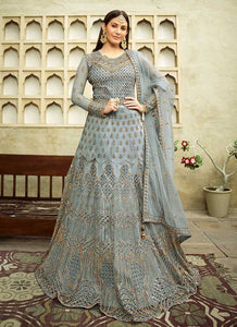 Teal Blue Heavy Embroidered Gown Style Anarkali