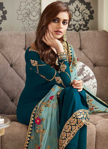Teal Blue and Gold Embroidered Straight Pant Style Suit 3