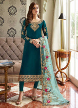 Load image into Gallery viewer, Teal Blue and Gold Embroidered Straight Pant Style Suit