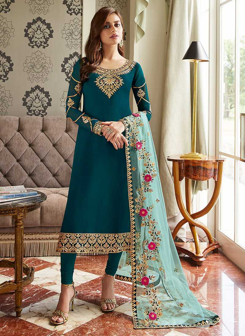 Teal Blue and Gold Embroidered Straight Pant Style Suit
