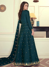 Load image into Gallery viewer, Teal Colored Kalidar Embroidered Silk Voluptuous Gown