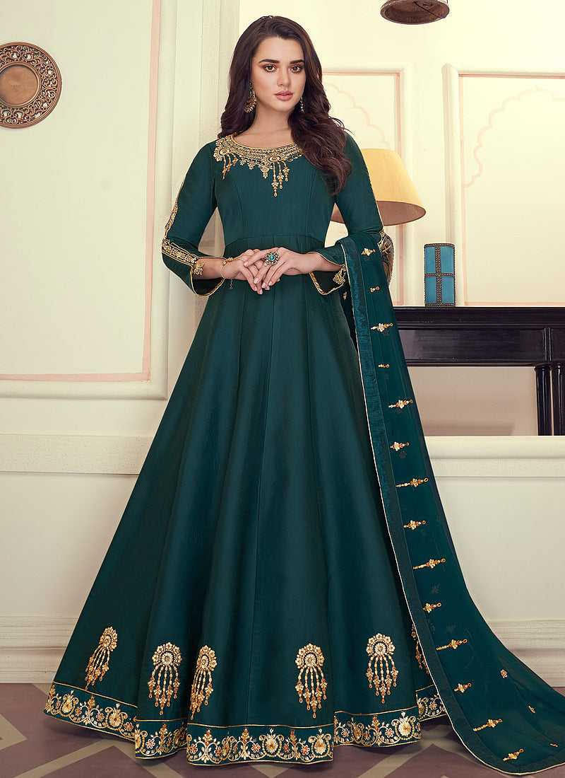 Teal Colored Kalidar Embroidered Silk Voluptuous Gown