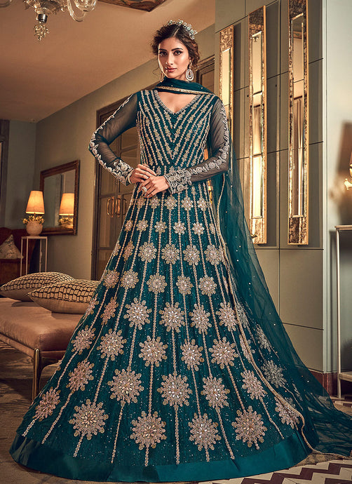 Teal Colour Heavy Embroidered Gown Style Anarkali Suit