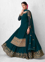 Load image into Gallery viewer, Teal Heavy Embroidered Lehenga Style Anarkali Suit