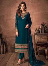 Load image into Gallery viewer, Teal and Gold Embroidered Straight Pant Style Suit