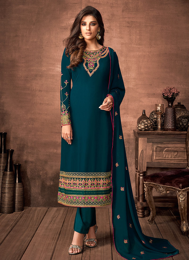 Teal and Gold Embroidered Straight Pant Style Suit