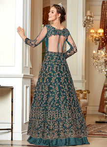 Teal and Gold Heavy Embroidered Lehenga/ Pant Style Anarkali