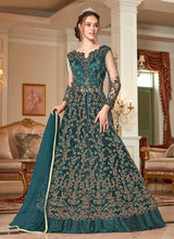 Load image into Gallery viewer, Teal and Gold Heavy Embroidered Lehenga/ Pant Style Anarkali