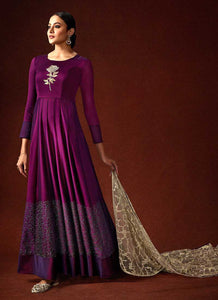 Wine Embroidered Floor Touch Anarkali Style Gown