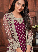 Load image into Gallery viewer, Wine Heavy Embroidered Jacket Style Salwar Suit 3